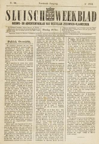 Sluisch Weekblad. Nieuws- en advertentieblad voor Westelijk Zeeuwsch-Vlaanderen 1873-11-18