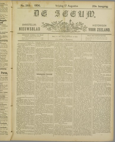 De Zeeuw. Christelijk-historisch nieuwsblad voor Zeeland 1906-08-17