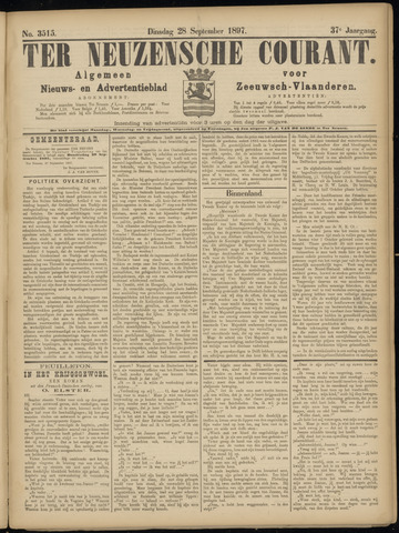 Ter Neuzensche Courant. Algemeen Nieuws- en Advertentieblad voor Zeeuwsch-Vlaanderen / Neuzensche Courant ... (idem) / (Algemeen) nieuws en advertentieblad voor Zeeuwsch-Vlaanderen 1897-09-28