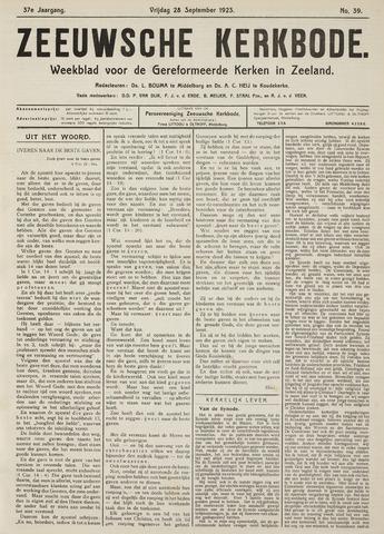 Zeeuwsche kerkbode, weekblad gewijd aan de belangen der gereformeerde kerken/ Zeeuwsch kerkblad 1923-09-28