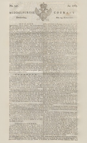 Middelburgsche Courant 1763-11-24