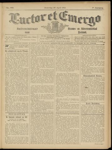 Luctor et Emergo. Antirevolutionair nieuws- en advertentieblad voor Zeeland / Zeeuwsch-Vlaanderen. Orgaan ter verspreiding van de christelijke beginselen in Zeeuwsch-Vlaanderen 1912-04-20