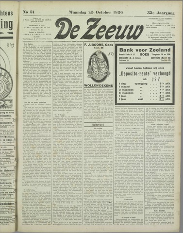 De Zeeuw. Christelijk-historisch nieuwsblad voor Zeeland 1920-10-25