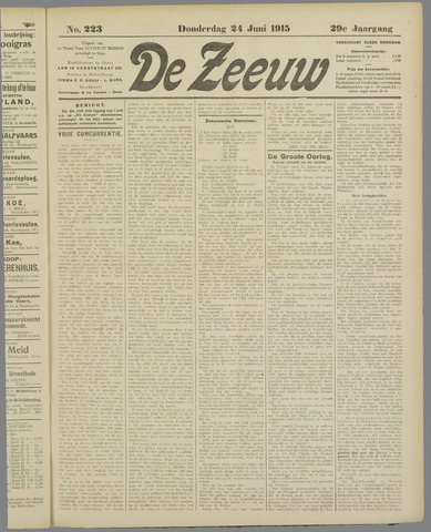 De Zeeuw. Christelijk-historisch nieuwsblad voor Zeeland 1915-06-24
