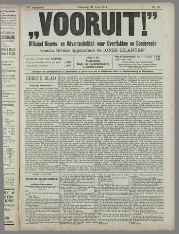 """""""Vooruit!""""Officieel Nieuws- en Advertentieblad voor Overflakkee en Goedereede 1917-07-21"""