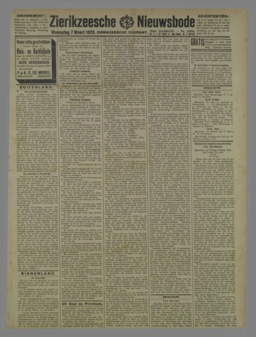 Zierikzeesche Nieuwsbode 1923-03-07