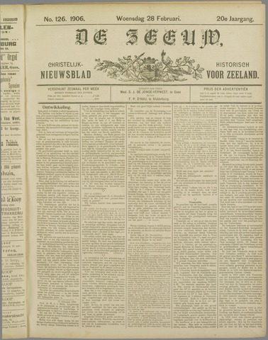 De Zeeuw. Christelijk-historisch nieuwsblad voor Zeeland 1906-02-28