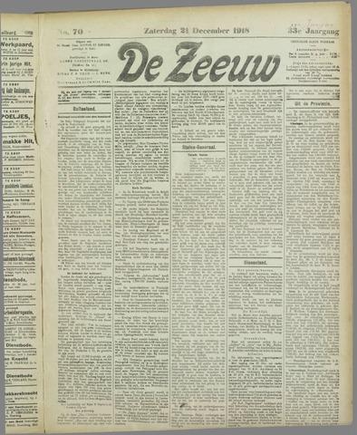 De Zeeuw. Christelijk-historisch nieuwsblad voor Zeeland 1918-12-21