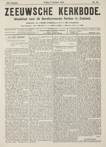 Zeeuwsche kerkbode, weekblad gewijd aan de belangen der gereformeerde kerken/ Zeeuwsch kerkblad 1924-10-31