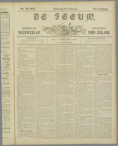 De Zeeuw. Christelijk-historisch nieuwsblad voor Zeeland 1902-02-15
