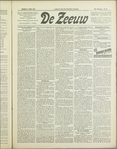 De Zeeuw. Christelijk-historisch nieuwsblad voor Zeeland 1934-04-16