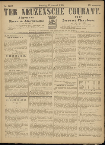 Ter Neuzensche Courant. Algemeen Nieuws- en Advertentieblad voor Zeeuwsch-Vlaanderen / Neuzensche Courant ... (idem) / (Algemeen) nieuws en advertentieblad voor Zeeuwsch-Vlaanderen 1898-01-15