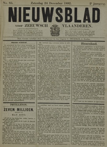 Nieuwsblad voor Zeeuwsch-Vlaanderen 1892-12-24