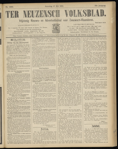 Ter Neuzensch Volksblad. Vrijzinnig nieuws- en advertentieblad voor Zeeuwsch- Vlaanderen / Zeeuwsch Nieuwsblad. Nieuws- en advertentieblad voor Zeeland 1913-05-17