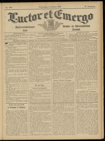 Luctor et Emergo. Antirevolutionair nieuws- en advertentieblad voor Zeeland / Zeeuwsch-Vlaanderen. Orgaan ter verspreiding van de christelijke beginselen in Zeeuwsch-Vlaanderen 1912-10-02