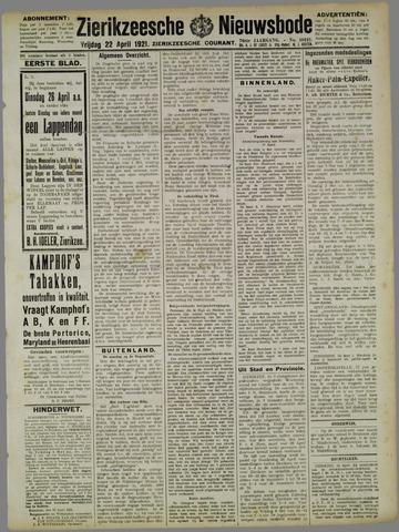 Zierikzeesche Nieuwsbode 1921-04-22