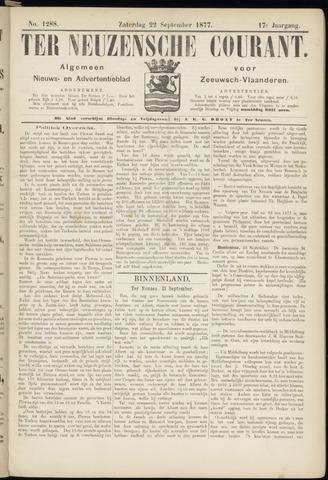 Ter Neuzensche Courant. Algemeen Nieuws- en Advertentieblad voor Zeeuwsch-Vlaanderen / Neuzensche Courant ... (idem) / (Algemeen) nieuws en advertentieblad voor Zeeuwsch-Vlaanderen 1877-09-22