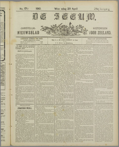 De Zeeuw. Christelijk-historisch nieuwsblad voor Zeeland 1910-04-20