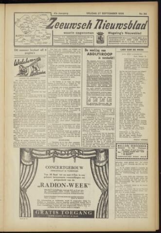 Zeeuwsch Nieuwsblad/Wegeling's Nieuwsblad 1935-09-27