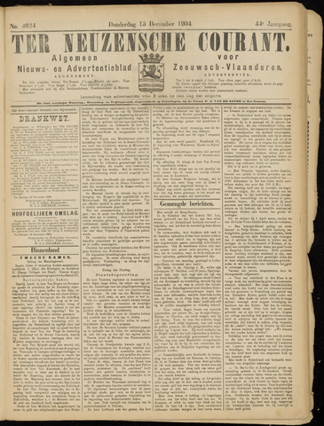 Ter Neuzensche Courant. Algemeen Nieuws- en Advertentieblad voor Zeeuwsch-Vlaanderen / Neuzensche Courant ... (idem) / (Algemeen) nieuws en advertentieblad voor Zeeuwsch-Vlaanderen 1904-12-15