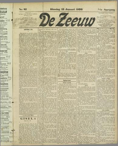 De Zeeuw. Christelijk-historisch nieuwsblad voor Zeeland 1920-01-13