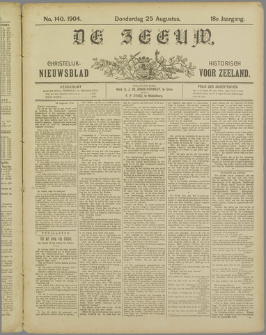 De Zeeuw. Christelijk-historisch nieuwsblad voor Zeeland 1904-08-25
