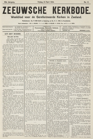 Zeeuwsche kerkbode, weekblad gewijd aan de belangen der gereformeerde kerken/ Zeeuwsch kerkblad 1926-04-23