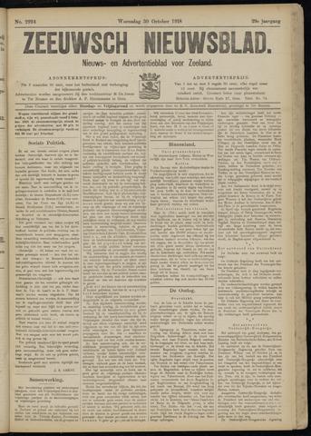 Ter Neuzensch Volksblad. Vrijzinnig nieuws- en advertentieblad voor Zeeuwsch- Vlaanderen / Zeeuwsch Nieuwsblad. Nieuws- en advertentieblad voor Zeeland 1918-10-30