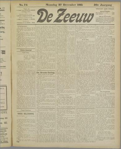 De Zeeuw. Christelijk-historisch nieuwsblad voor Zeeland 1915-12-27