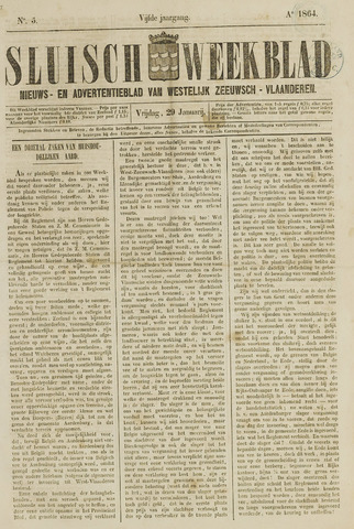Sluisch Weekblad. Nieuws- en advertentieblad voor Westelijk Zeeuwsch-Vlaanderen 1864-01-29