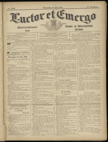 Luctor et Emergo. Antirevolutionair nieuws- en advertentieblad voor Zeeland / Zeeuwsch-Vlaanderen. Orgaan ter verspreiding van de christelijke beginselen in Zeeuwsch-Vlaanderen 1916-06-21