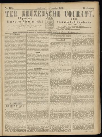 Ter Neuzensche Courant. Algemeen Nieuws- en Advertentieblad voor Zeeuwsch-Vlaanderen / Neuzensche Courant ... (idem) / (Algemeen) nieuws en advertentieblad voor Zeeuwsch-Vlaanderen 1903-09-17