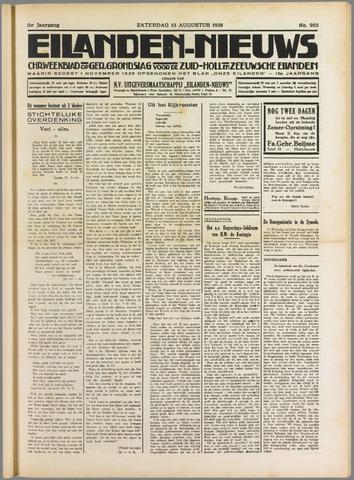 Eilanden-nieuws. Christelijk streekblad op gereformeerde grondslag 1938-08-13