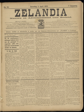 Zelandia. Nieuws-en advertentieblad voor Zeeland | edities: Het Land van Hulst en De Vier Ambachten 1902-04-05