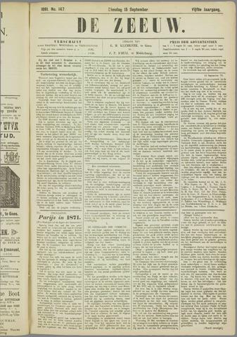 De Zeeuw. Christelijk-historisch nieuwsblad voor Zeeland 1891-09-15