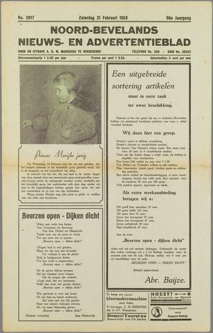 Noord-Bevelands Nieuws- en advertentieblad 1953-02-21