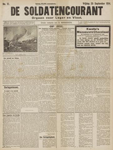 De Soldatencourant. Orgaan voor Leger en Vloot 1914-09-25