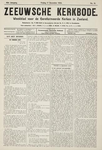 Zeeuwsche kerkbode, weekblad gewijd aan de belangen der gereformeerde kerken/ Zeeuwsch kerkblad 1926-12-17
