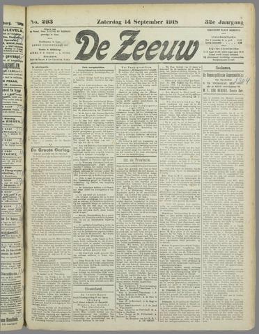 De Zeeuw. Christelijk-historisch nieuwsblad voor Zeeland 1918-09-14