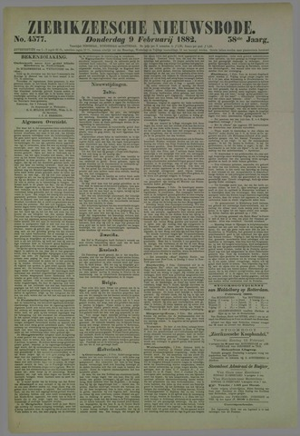 Zierikzeesche Nieuwsbode 1882-02-09