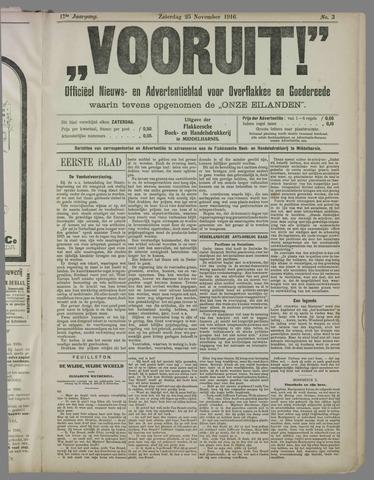"""""""Vooruit!""""Officieel Nieuws- en Advertentieblad voor Overflakkee en Goedereede 1916-11-25"""
