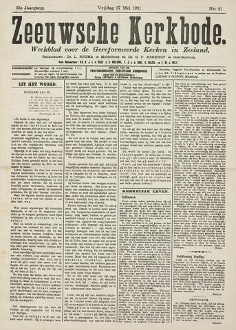 Zeeuwsche kerkbode, weekblad gewijd aan de belangen der gereformeerde kerken/ Zeeuwsch kerkblad 1921-05-27