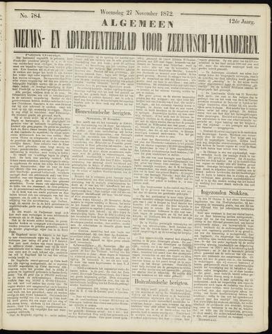 Ter Neuzensche Courant. Algemeen Nieuws- en Advertentieblad voor Zeeuwsch-Vlaanderen / Neuzensche Courant ... (idem) / (Algemeen) nieuws en advertentieblad voor Zeeuwsch-Vlaanderen 1872-11-27