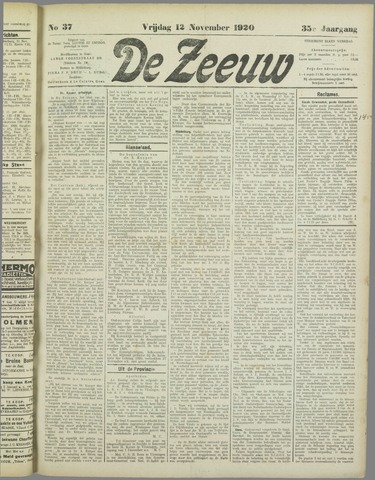 De Zeeuw. Christelijk-historisch nieuwsblad voor Zeeland 1920-11-12