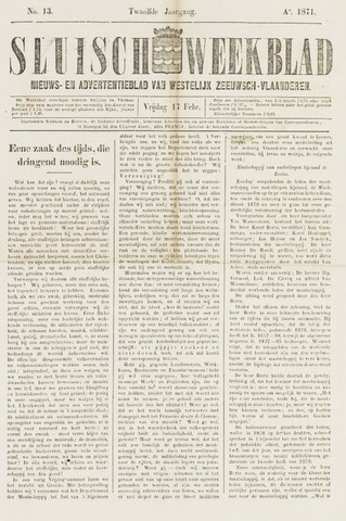 Sluisch Weekblad. Nieuws- en advertentieblad voor Westelijk Zeeuwsch-Vlaanderen 1871
