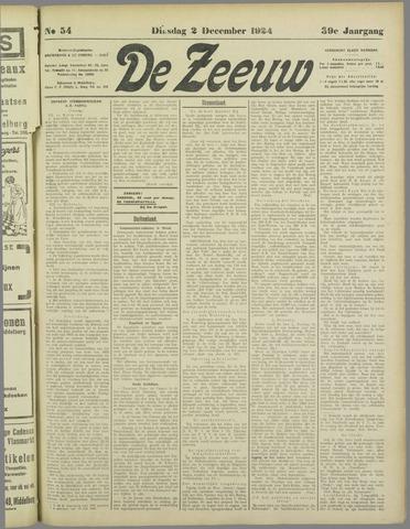 De Zeeuw. Christelijk-historisch nieuwsblad voor Zeeland 1924-12-02