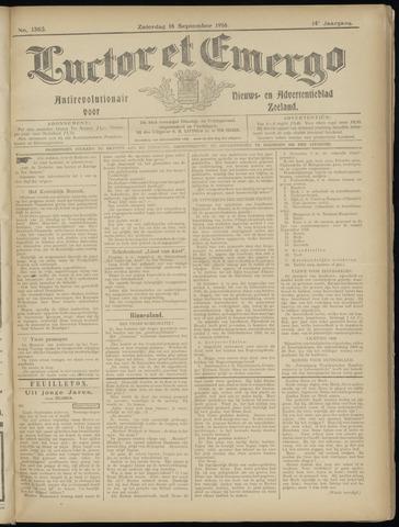 Luctor et Emergo. Antirevolutionair nieuws- en advertentieblad voor Zeeland / Zeeuwsch-Vlaanderen. Orgaan ter verspreiding van de christelijke beginselen in Zeeuwsch-Vlaanderen 1916-09-16