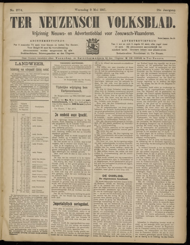 Ter Neuzensch Volksblad. Vrijzinnig nieuws- en advertentieblad voor Zeeuwsch- Vlaanderen / Zeeuwsch Nieuwsblad. Nieuws- en advertentieblad voor Zeeland 1917-05-09