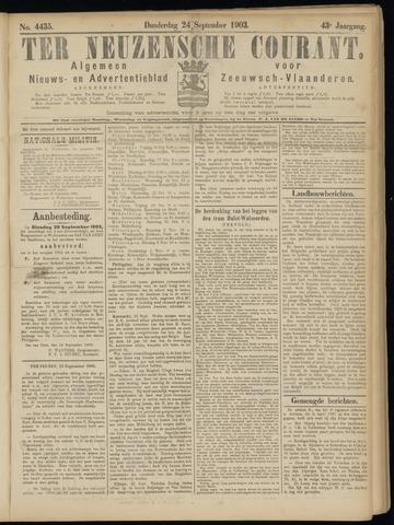 Ter Neuzensche Courant. Algemeen Nieuws- en Advertentieblad voor Zeeuwsch-Vlaanderen / Neuzensche Courant ... (idem) / (Algemeen) nieuws en advertentieblad voor Zeeuwsch-Vlaanderen 1903-09-24