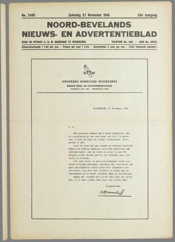 Noord-Bevelands Nieuws- en advertentieblad 1948-11-27